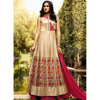 Cream Art Silk Long Length Salwar Suits